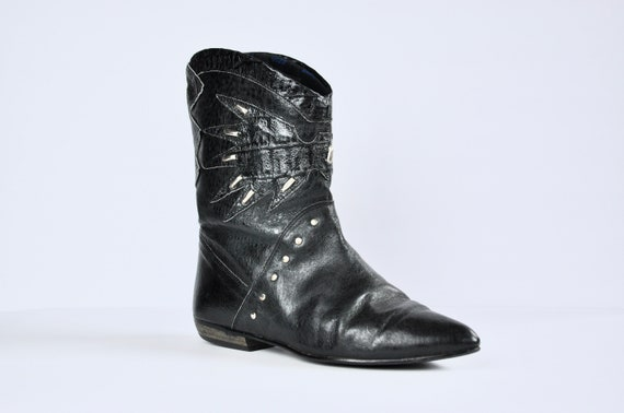 80s Black Leather Western Boots w/ Cut-out & Silve