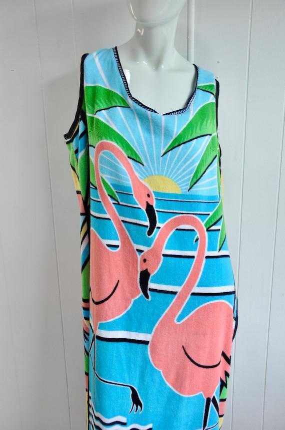 80s Terrycloth PINK FLAMINGO Dress, XXL Plus Size… - image 3