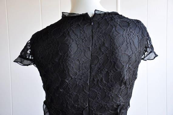 Black Silk Lace Gothic Dress w/ Black Gem Brooch … - image 9
