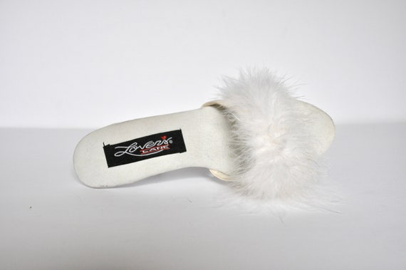 90s White Marabou Feather and Lucite Plastic Heel… - image 8