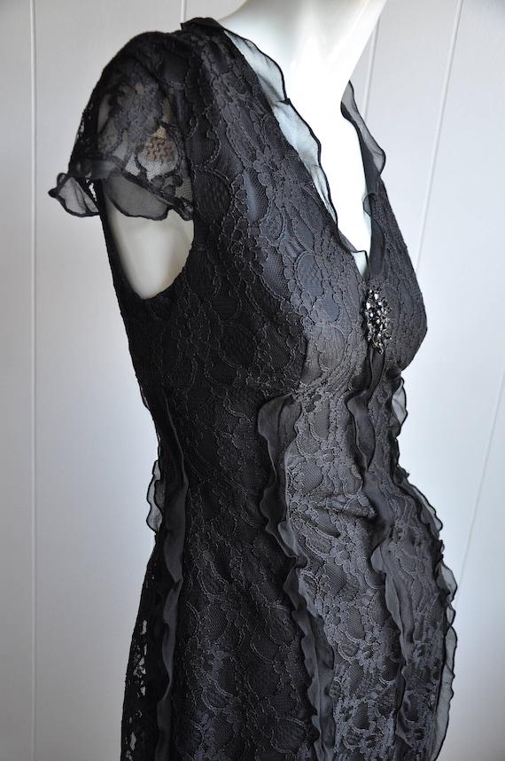 Black Silk Lace Gothic Dress w/ Black Gem Brooch … - image 1