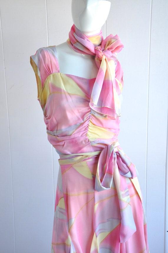 90s Y2K Pastel Rainbow Silk Skirt Suit (3 Piece),