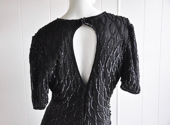 Silk Little Black Sequin Dress w Feather/Teardrop