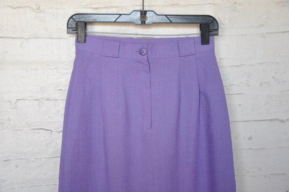 70s 80s Purple Linen Pleated Skirt by Vera Lane, … - image 3