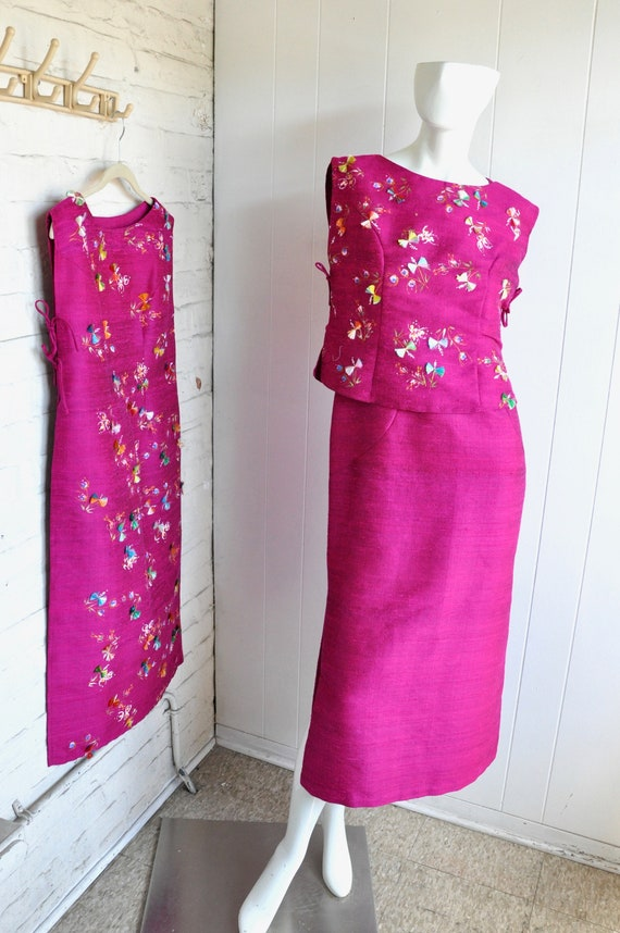 60s Hot Pink Japanese House Dress, 3-Piece Dress … - image 4