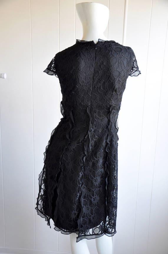Black Silk Lace Gothic Dress w/ Black Gem Brooch … - image 5