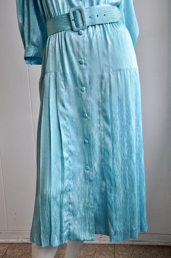 80s Shimmery Mermaid Blue Dress, Melissa Lane, Si… - image 7