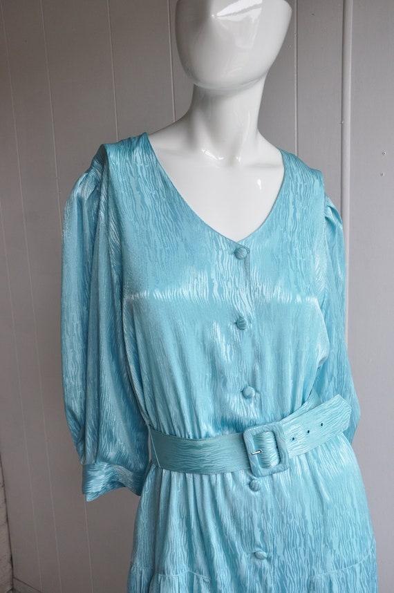 80s Shimmery Mermaid Blue Dress, Melissa Lane, Si… - image 6