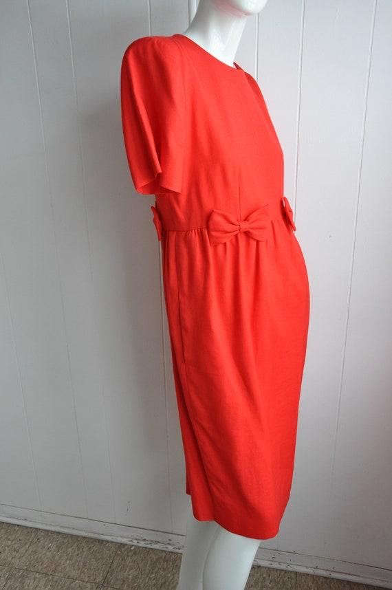 80s Red Linen Bow Dress, Pinup Rockabilly Vixen D… - image 2