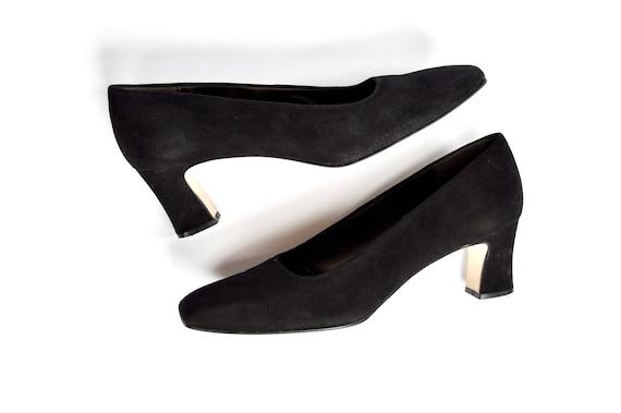 90s Black Suede Witch Heels, Nina 9.5M, Formal / G