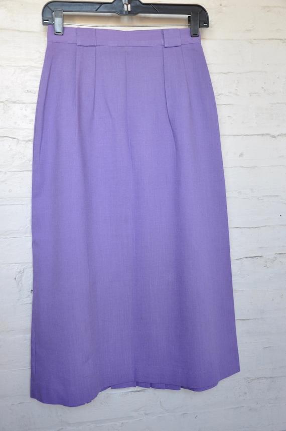 70s 80s Purple Linen Pleated Skirt by Vera Lane, … - image 2
