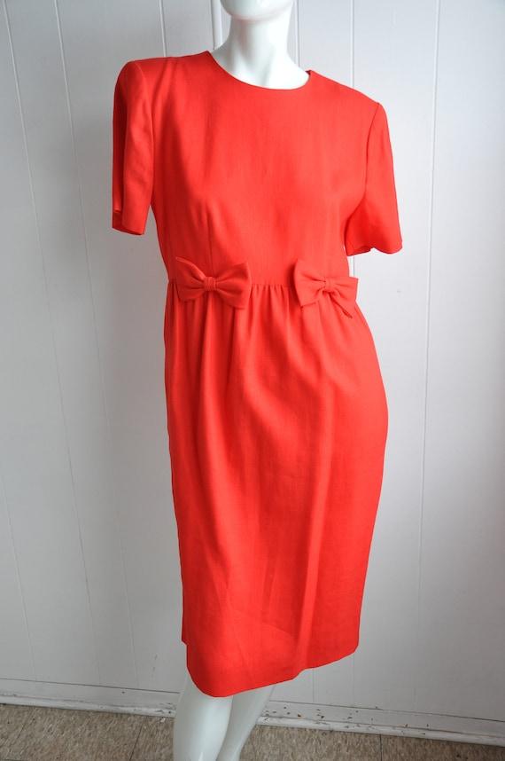 80s Red Linen Bow Dress, Pinup Rockabilly Vixen D… - image 6