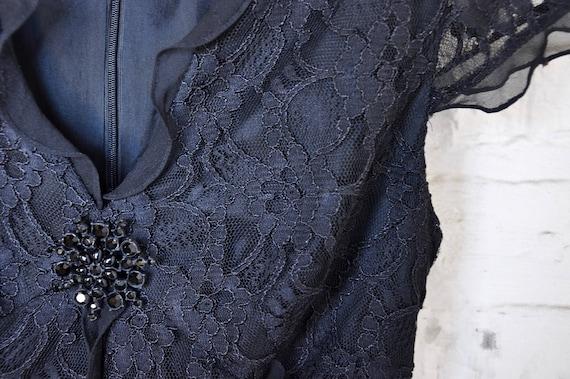 Black Silk Lace Gothic Dress w/ Black Gem Brooch … - image 6