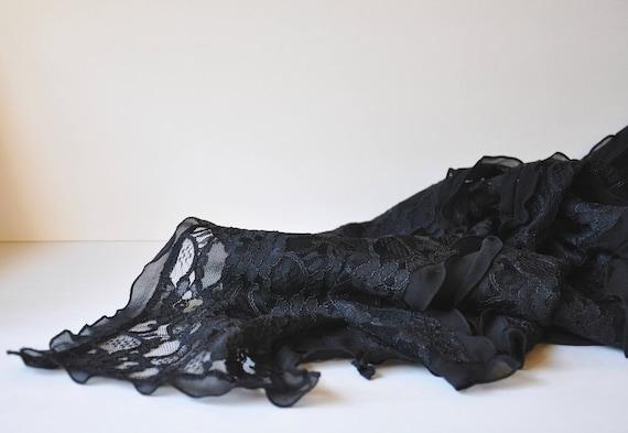 Black Silk Lace Gothic Dress w/ Black Gem Brooch … - image 7