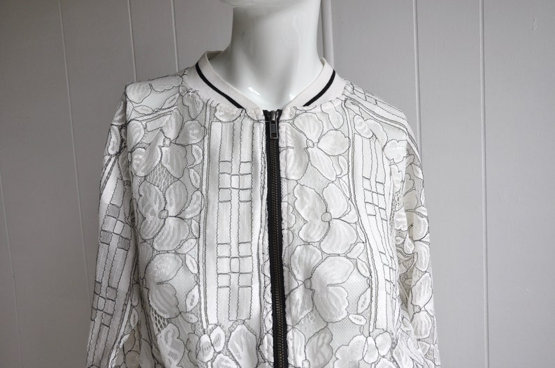 d470952f8 White and Black Lace Bomber Jacket/Cardigan, Size M by Nu Denmark, 1990s  Does 1970s, Disco/Boho/Vintage/Athletic/Unique/Goth/Rockabilly