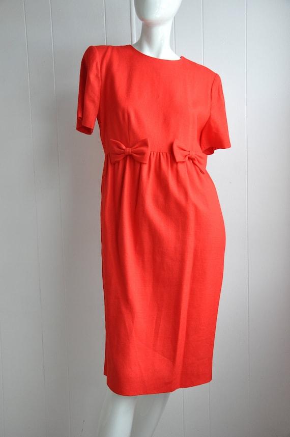 80s Red Linen Bow Dress, Pinup Rockabilly Vixen De