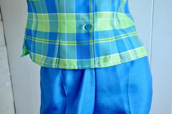 90s Green Blue Plaid 2-Piece Women's Pantsuit, Sag