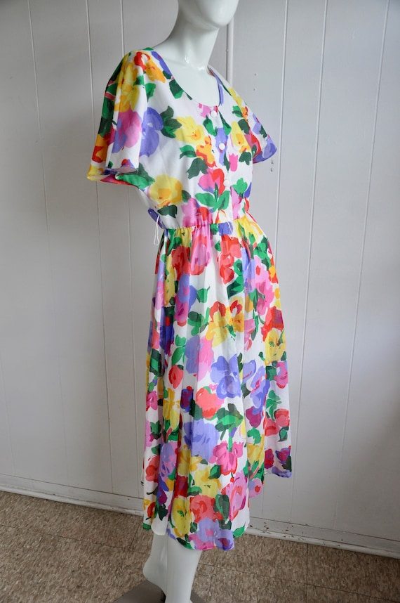 Rainbow Flower Dress, Vintage Size 6/Small, Water… - image 8