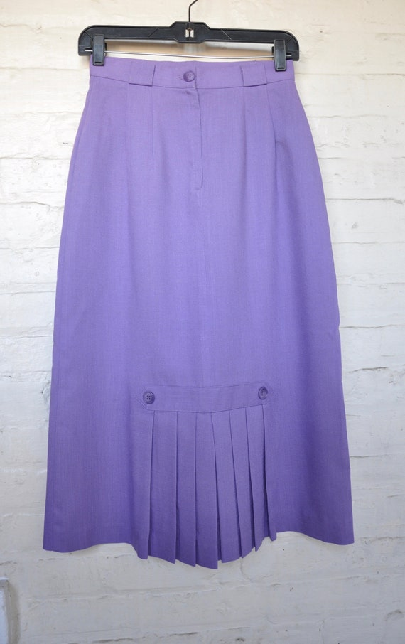 70s 80s Purple Linen Pleated Skirt by Vera Lane, W