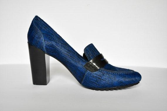 Y2K Blue Cowhide Platform Mules, Size 9.5M, 90s Do