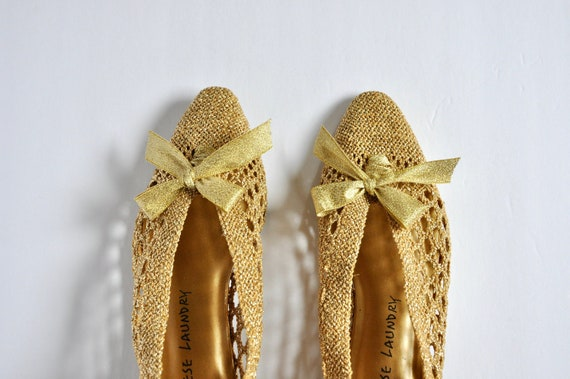 90s Does 20s 30s Gold Leather Bow Shoes, Chinese L