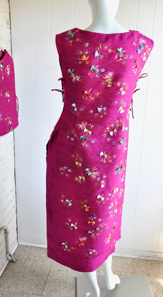 60s Hot Pink Japanese House Dress, 3-Piece Dress … - image 9