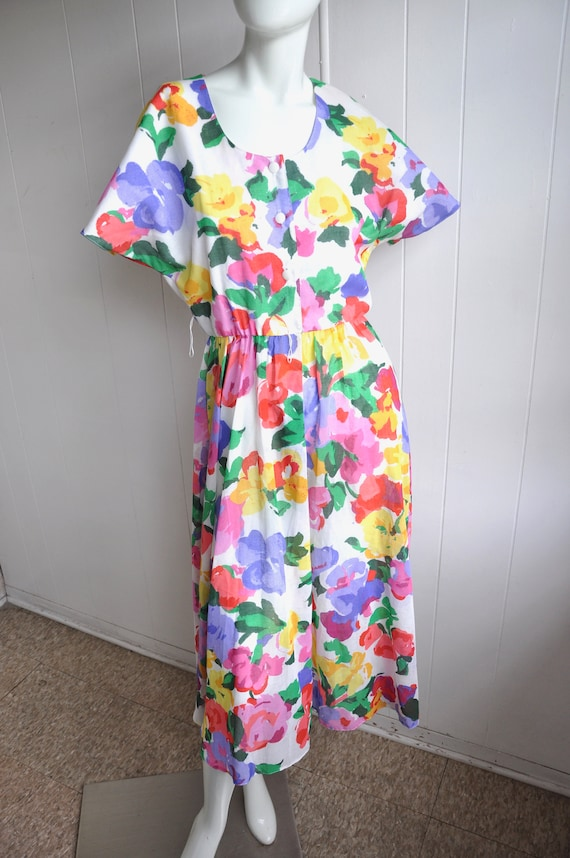 Rainbow Flower Dress, Vintage Size 6/Small, Water… - image 1