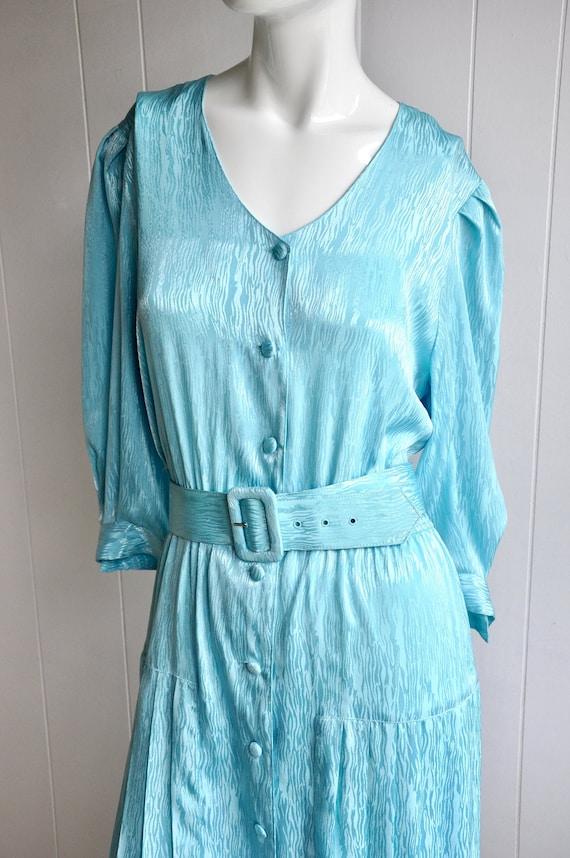 80s Shimmery Mermaid Blue Dress, Melissa Lane, Siz