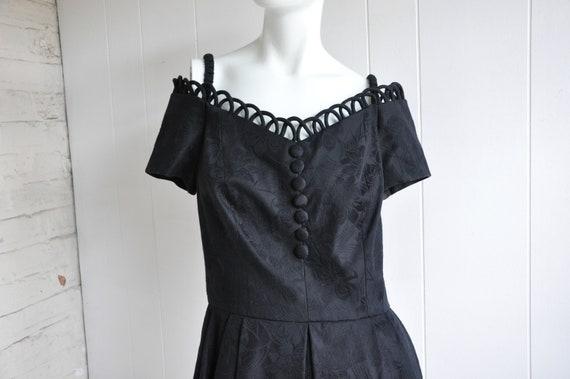 80s Off the Shoulder Little Black Dress w/ Loop-de