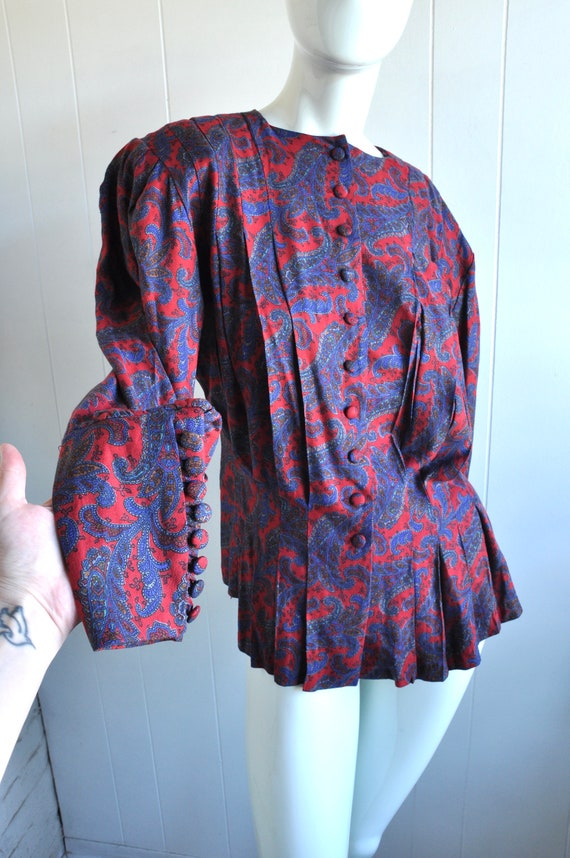 80s 90s Paisley Mutton Sleeve Pleated Blouse, Pepl