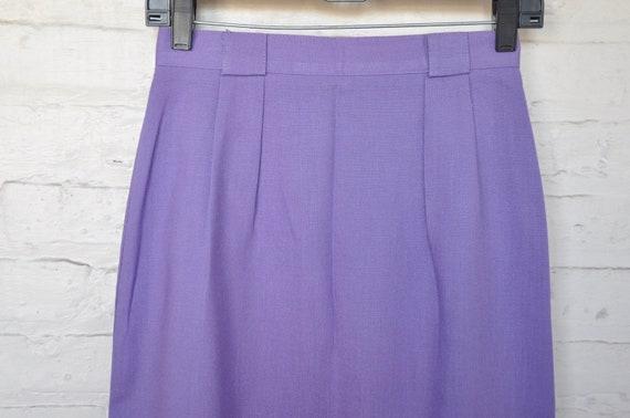 70s 80s Purple Linen Pleated Skirt by Vera Lane, … - image 4
