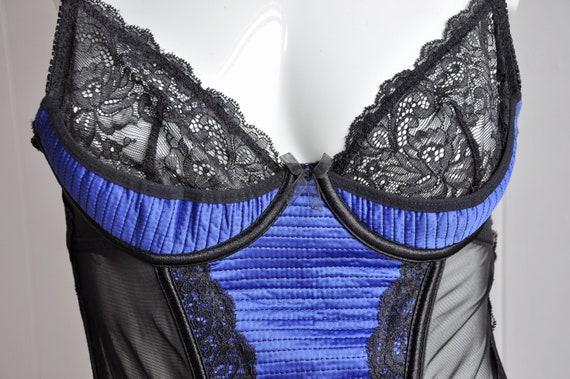 Black & Blue Lace Mesh Satin Bustier Corset Bra w… - image 6