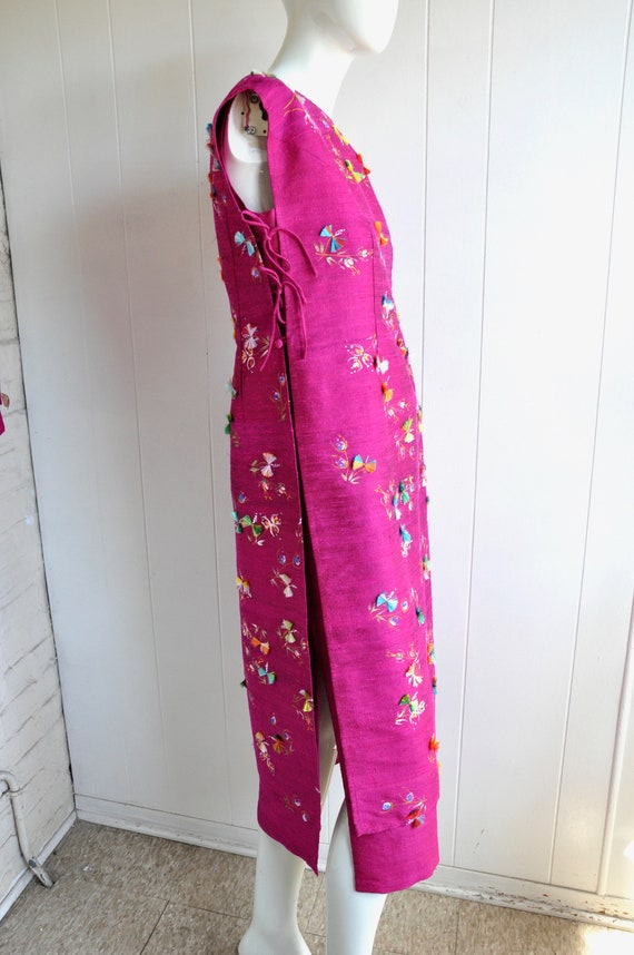 60s Hot Pink Japanese House Dress, 3-Piece Dress … - image 7