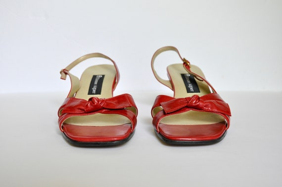 90s BOMBSHELL Red Leather Square Toe Bow-tie Wedg… - image 3