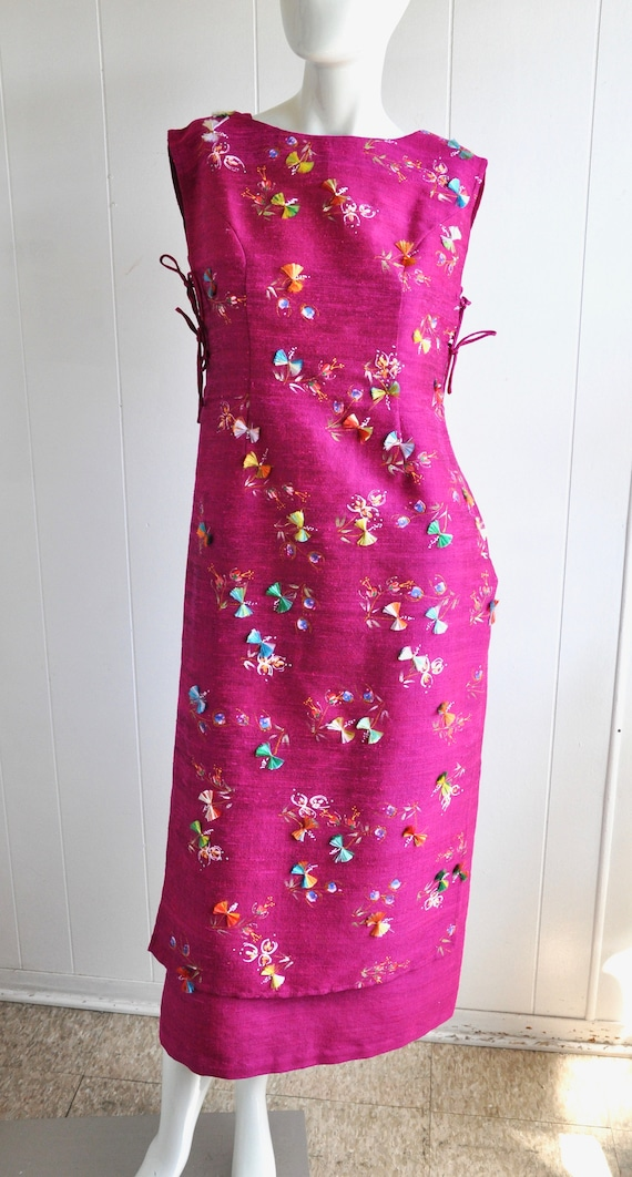 60s Hot Pink Japanese House Dress, 3-Piece Dress … - image 3