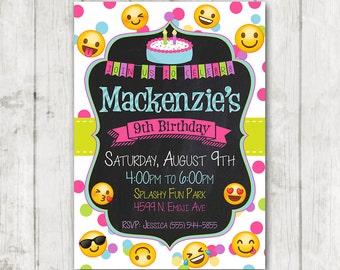 Printable Emoji Birthday Party Invitation Invitations Custom Smiley Face Girl Emojis Bday Invite Emoticon