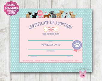 photo relating to Pet Adoption Certificate Free Printable identify Puppy certification Etsy