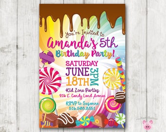 Candy invitation etsy printable candy invitation candy birthday invitation candy party sweets chocolate birthday invite dripping chocolate lollipop party filmwisefo
