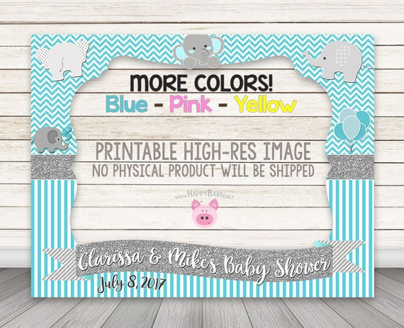 Printable Elephant Photo Booth Frame Baby Shower Photo Booth Etsy