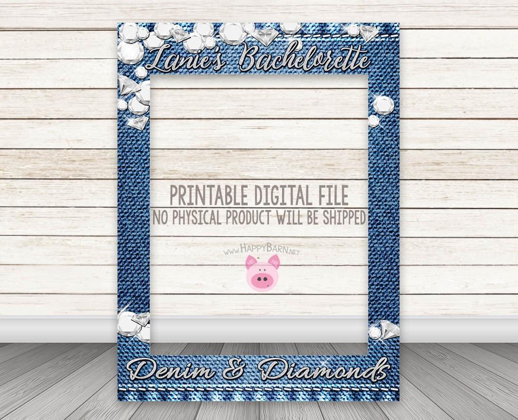 Printable Denim Diamonds Party Photo Booth Frame Silver Etsy