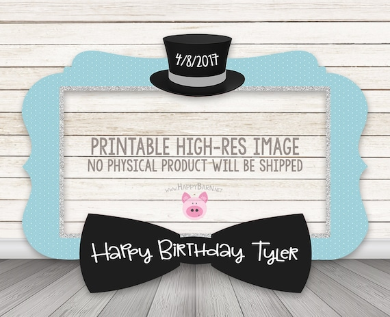 Printable Bow Tie Photo Booth Frame Little Man Baby Shower Etsy