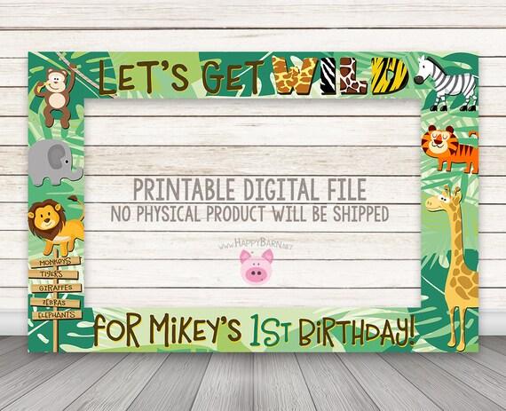 PRINTABLE Jungle Animals photo booth frame Safari photo booth | Etsy