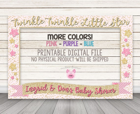 PRINTABLE Twinkle Twinkle Little Star Photo Booth Frame Pink | Etsy