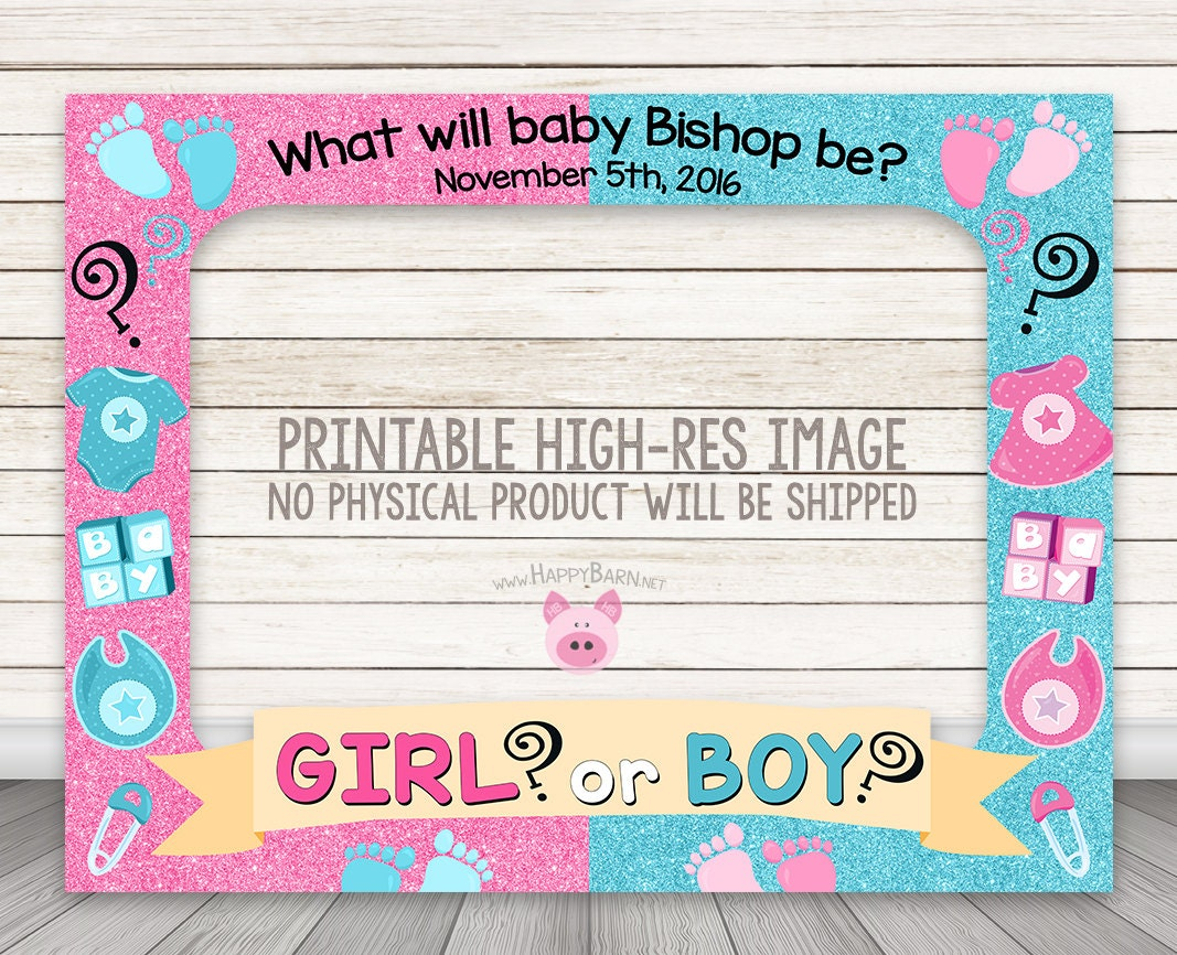 Printable Gender Reveal Photo Booth Frame Baby Shower Photo   Etsy