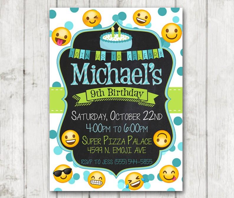 Printable Boy Emoji Birthday Party Invitation