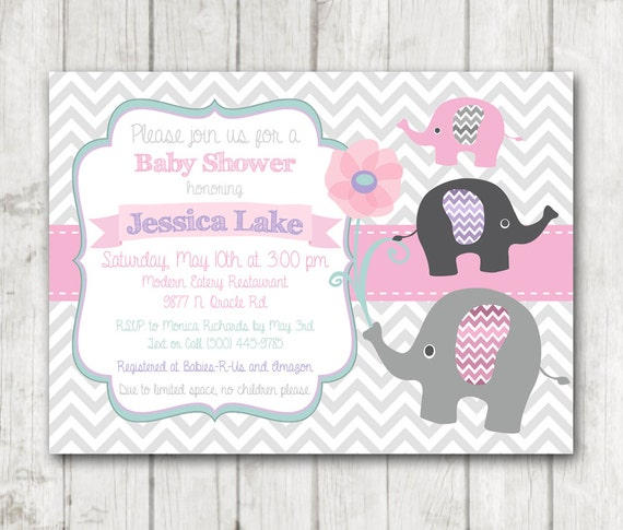 Printable Elephant Girl Baby Shower Invitation Flowers Floral Etsy