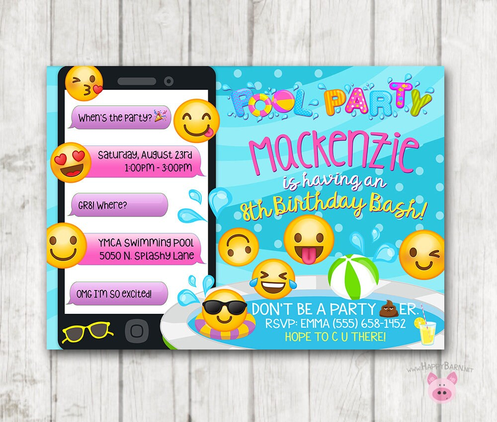 Printable Emoji Pool Party Invitation Swim Invitations Birthday Swimming