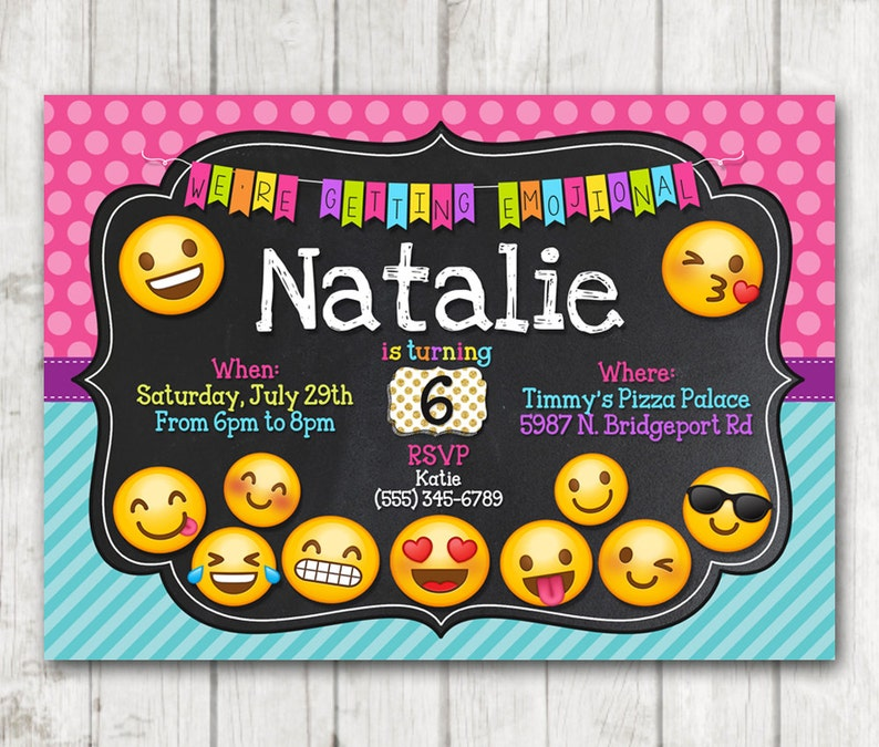 Printable Emoji Birthday Party Invitation Invitations
