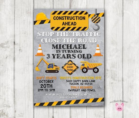 construction invitation dump truck invitation builder etsy