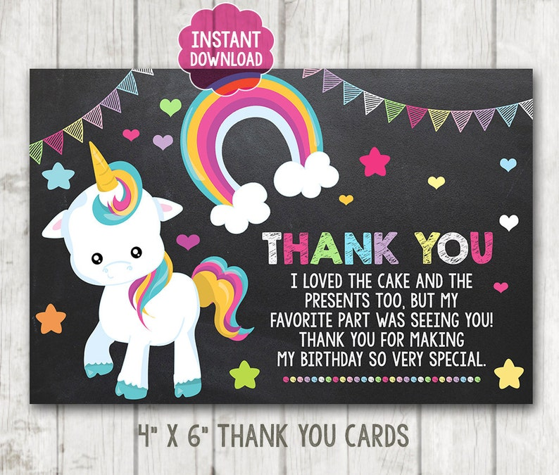 INSTANT DOWNLOAD Printable Little Pony Thank You Cards Unicorn